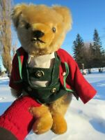 "VINTAGE TEDDY BEAR HERMANN 12"" MOHAIR GREEN CIRCLE TAG GERMAN BAVARIAN ORIGINAL"