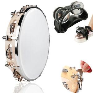 """10"""" Tambourine Pandeiro Hand Percussion & Foot Tambourine Cajon Drum Accessory"""