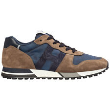 HOGAN MEN'S SHOES SUEDE TRAINERS SNEAKERS NEW H383 BROWN DF8