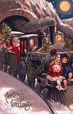 Vintage Santa & Children on Train Christmas express Quilting Fabric Block 5x7