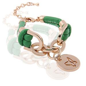 Green Charms Women Bracelet PU Leather Gold Rhinestones Wrap Butterfly BB65