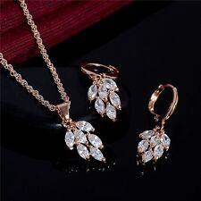 Hoja de cristales de la CZ chapado en oro 18K Aretes/collar conjunto Navidad presente GPS06