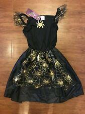 Halloween DRESS UP cobweb fancy dress costume WITCH black GIRLS 9-10 years