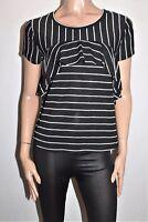 VALLEYGIRL Brand Black White Striped Short Sleeve Top Size S BNWT #SG87