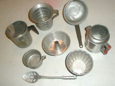 Vintage 8 Piece Childs Toy Aluminum Cookware Assorted