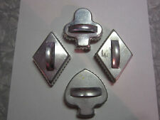 Lot of 4 Vintage Cookie Cutters - 1 Club/Clover, 2 Diamonds, 1 Heart/Spade