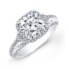 Solid 14k White Gold Bands 1.52CT Natural Diamond Solitaire Engagement Rings