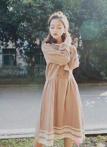 Robe dentelle crochet Mori Girl retro ancienne lolita Shabby bohème Cawaii Japon