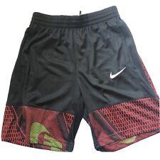 Nike Boys Dri Fit Printed Basketball Mesh Shorts Black University Red XL NEW