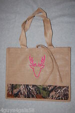Womens Burlap Tote Bag CAMO BELLES Pink Embroidered Deer BEIGE Camouflage Accent