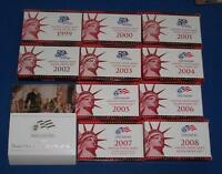 1999 though 2008 SILVER Proof Set Replacement Boxes/COA's- NO COINS