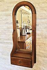 Vintage miroir en bois rectangulaire demi-rond avec son tiroir  67 cm