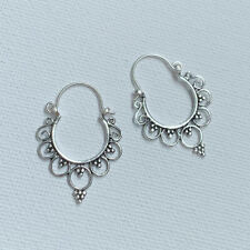 REAL 925 Sterling Silver Gypsy Boho Tribal Dotted Ethnic Hoop Earrings for Women