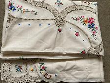 More details for 🌺vintage handwork embroidered/crochet cotton large rectangle tablecloth floral