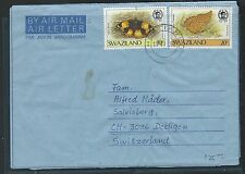 SWAZILAND (P2209B) 1988 FORMULA AEROGRAMME BUTTERFLY 10C+20C TO SWITZERLAND