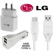 For LG G5 G6 G7 8 Stylo 4 5 V20 OEM Fast Charge Wall Car Charger Type C Cord LOT