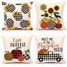 Set of 4 Buffalo Pumpkin Sunflower Fall Throw Pillow Cover Truck Farmhouse Cu...