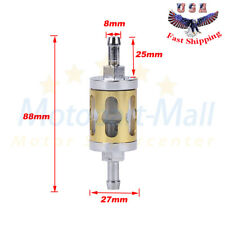 8mm 5/16'' Universal Small In Line Fuel Filter Clear Chrome Metal Glass Washable