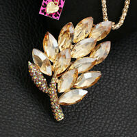 Women's Crystal Rhinestone Leaf Pendant Chain Betsey Johnson Necklace/Brooch Pin