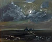 "Nautical Ocean Moon Night Seascape Oil Painting, 16""x20"", Original Signed Art"