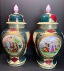Pair 19th C. Royal Vienna Lidded Urns Vase or Jars Large Porcelain 18' IN Tall
