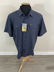 Orvis Navy Blue Short Sleeve Tech Shirt Size XL UPF 30+