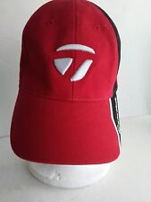 Taylor Made Red Black Golf Hat Cap Cotton Adjustable White Raised Logo One Size