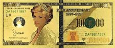 Lady Diana 100 dollar 24K gold-plated banknote
