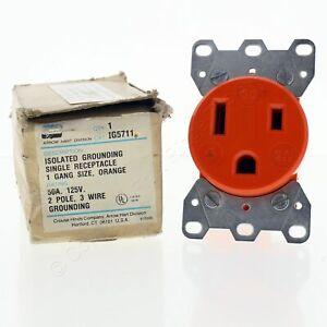 Arrow Hart Orange Isolated Ground Single Receptacle 5-50R 50A 125V 2P3W IG5711