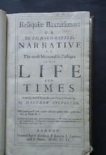 RELIQUIAE BAXTERIANAE or RICHARD BAXTERS NARRATIVE OF HIS LIFE & TIMES 1679 Rare