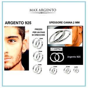 Orecchini a Cerchio Cerchietto Argento 925% Uomo Donna Misura 2mm x 12 a 30mm