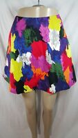 Kate Spade Saturday Circle Mini Skirt sz 8 Color Splotch Red Green Yellow Blue