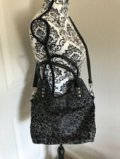 Bodhi Calf Hair Satchel Crossbody Bag Gray Anima Leopard Cheetah Stud $598