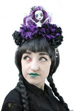 Zombie Goth Doll Purple Flower Pom Pom Crown Headdress Gothic Halloween