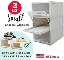 Shoe Organizer Box Durable Stackable Pull Out Clear Drawer Type Home Storage