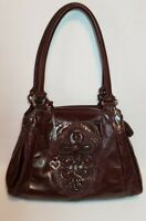 BRIGHTON BROWN KATARINA MASTERPIECE  COLLECTION SHOULDER HANDBAG, POCKETS GALORE