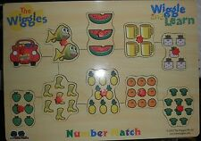 THE WIGGLES NUMBERS MATCH WOODEN JIGSAW WITH BUTTONS~10 PIECES~EASY SOLVE~VGC