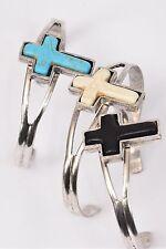 Bulk Lot 12 Bracelets Cuff Cross Semiprecious Stone Silver Tone 3 Assorted Color