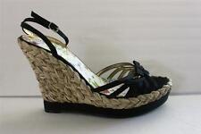 Guess Womens Size 9.5 M Black Satin Espadrille High Platform Wedge Heel Shoe New