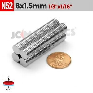 "8mm x 1.5mm 1/3""x1/16"" N52 Very Strong Disc Rare Earth Neodymium Magnets 8x1.5mm"