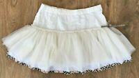 Burberry rare Girls nova check trimm white satin skirt size 8 Years