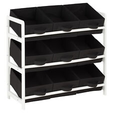 Hartleys 3 Tier Storage Unit With 9 Canvas Bins - Black & White
