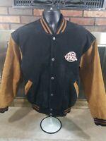 Vintage No Fear Professional Series Suede Leather Varsity Bomber Jacket Mens L
