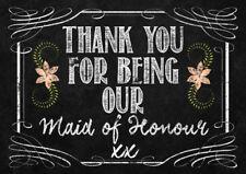 Thank you Maid of Honour chalk Wine bottle label sticker wedding gift keepsake