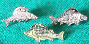 Barbell Carp & Perch Freshwater Game Fish Angling Pin Angler Enamel Badges NEW