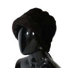 NUOVO DOLCE & GABBANA cappello pelliccia di visone marrone da donna berretto