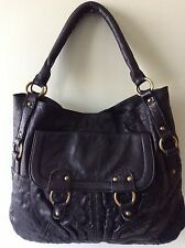 ASOS real leather ladies chunky heavy black tote underarm shoulder handbag