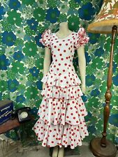 AL43 Vintage Spanish Traditional Dress Flamenco Red White Polka Dot Size 8
