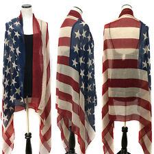 Patriotic USA AMERICAN FLAG Oblong Scarf Shawl wrap Star Stripes Long Blue Red