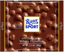 Ritter Sport Bars, Milk Chocolate with Whole Hazelnuts, 3.5 oz bars, 10 ea